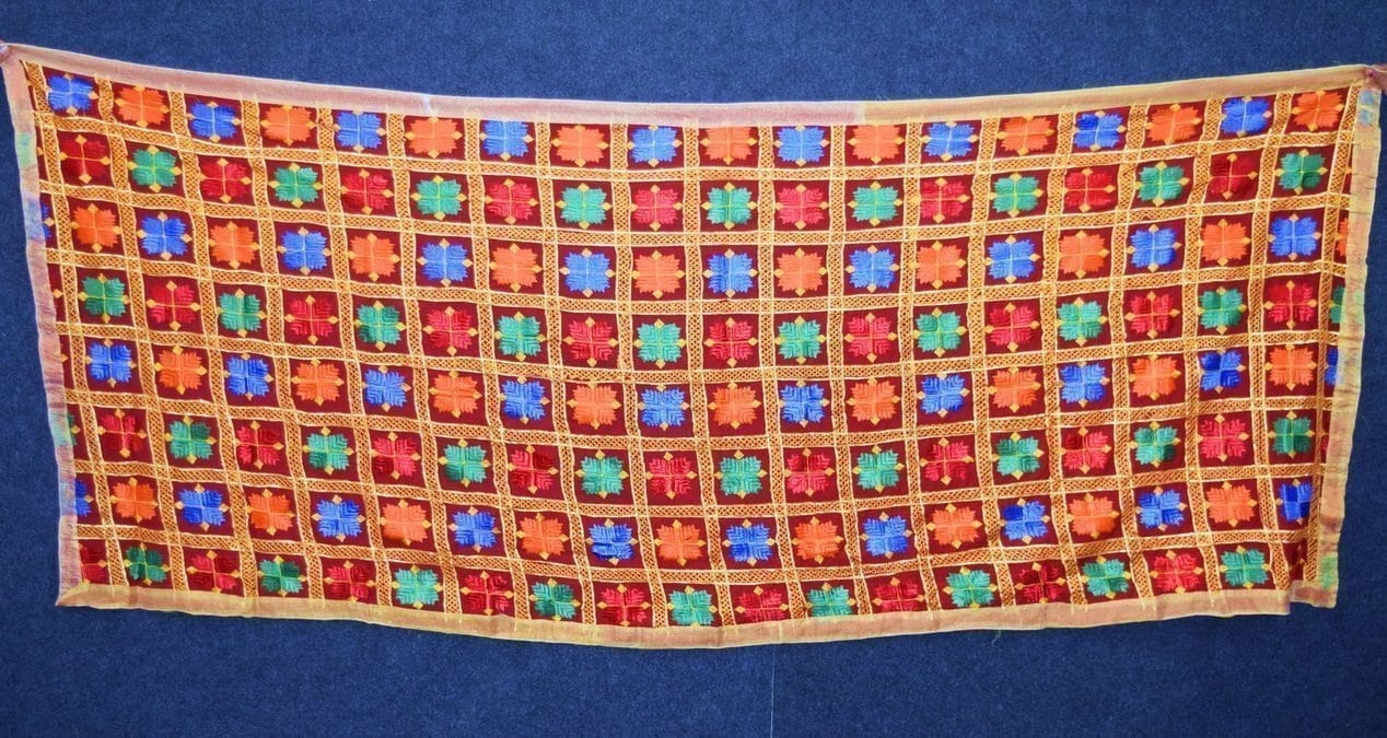 Red PHULKARI Dupatta with Gota Work Party Wear M/C Embroidered D0900 2