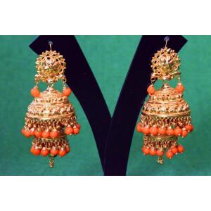 Gold Plated Punjabi Traditional Jewellery Earrings Jhmki Dangles J0357
