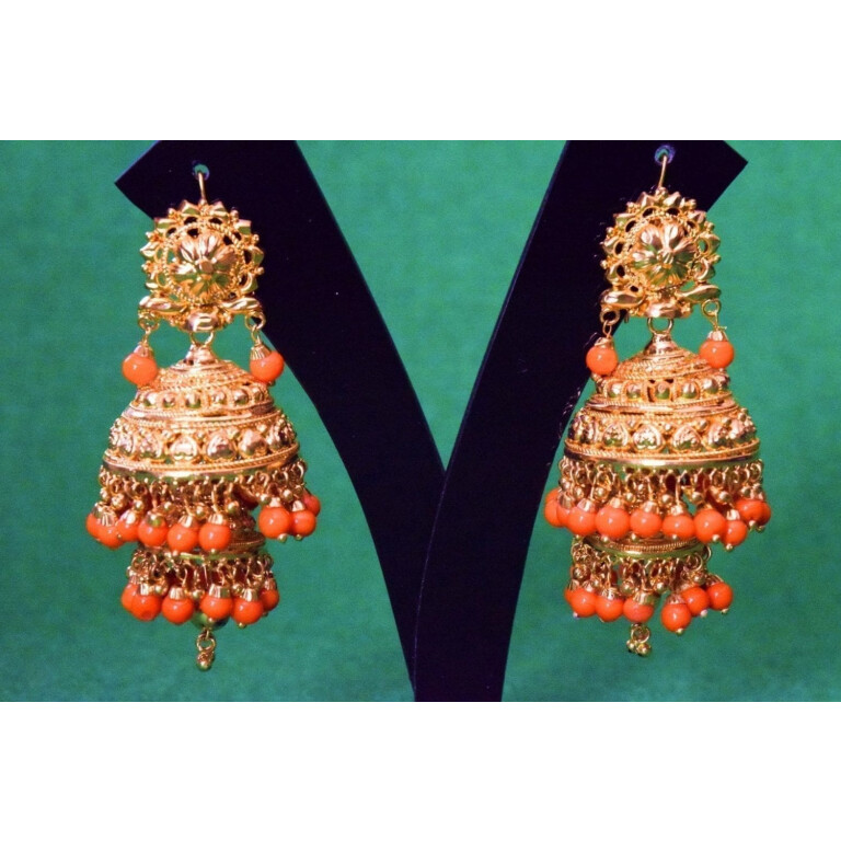 Gold Plated Punjabi Traditional Jewellery Earrings Jhmki Dangles J0357