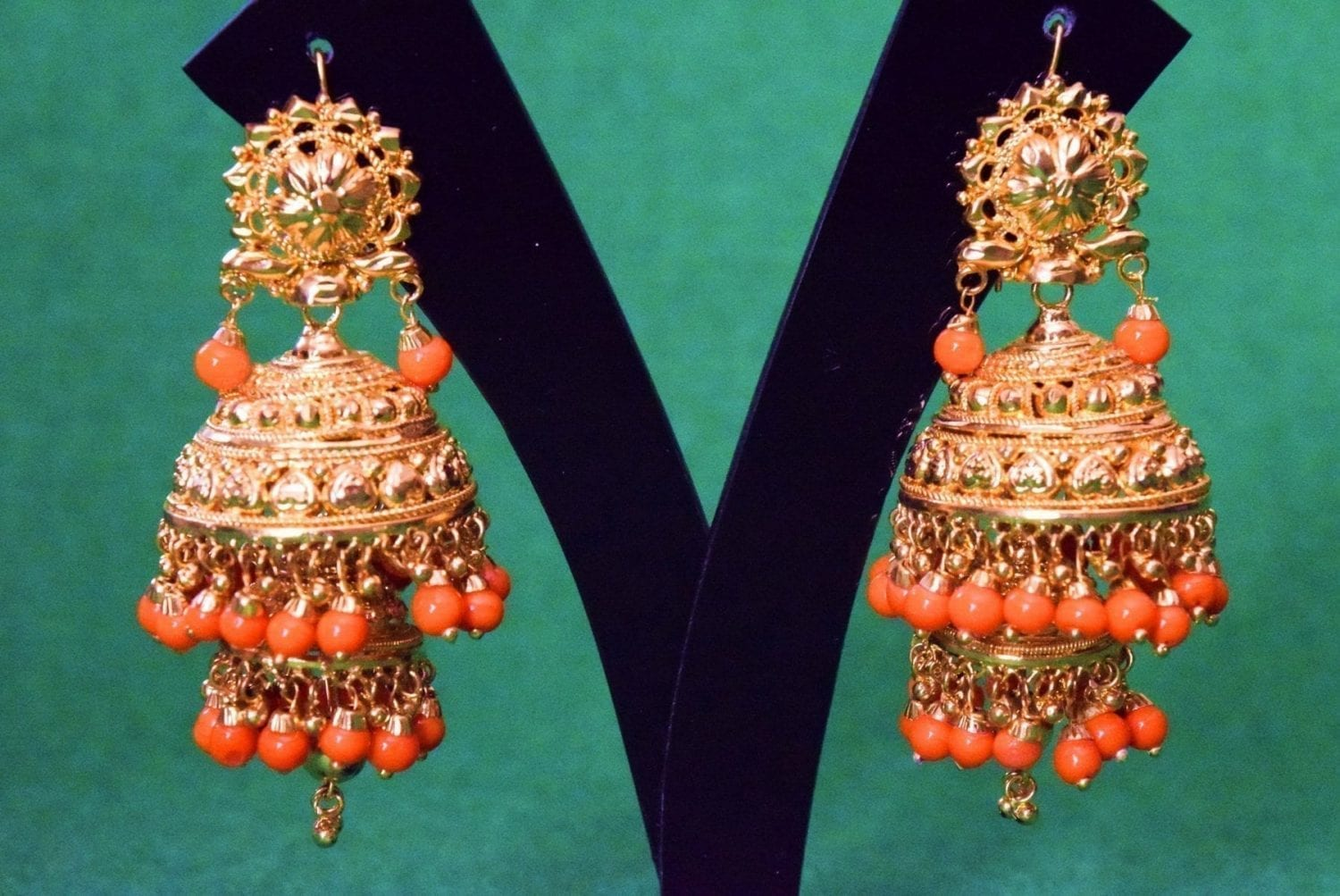 Gold Plated Punjabi Traditional Jewellery Earrings Jhmki Dangles J0357 1