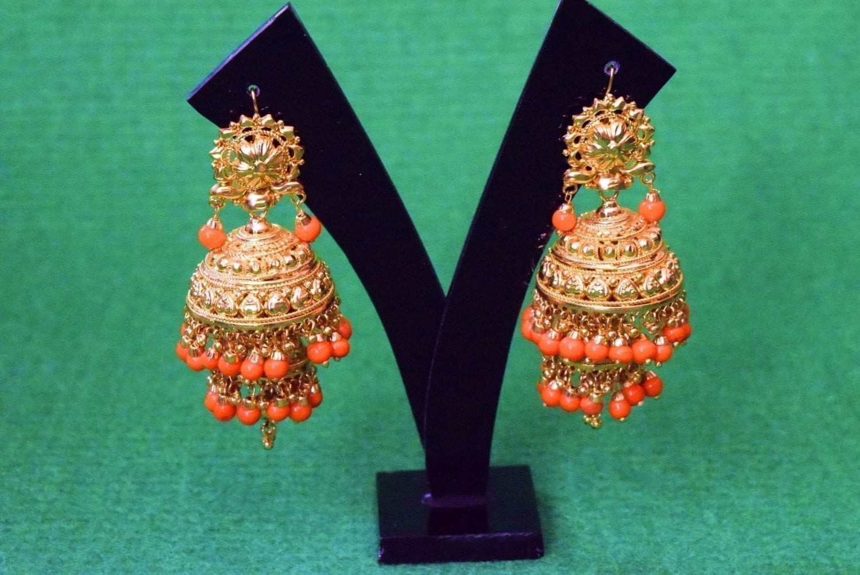 Gold Plated Punjabi Traditional Jewellery Earrings Jhmki Dangles J0357 2