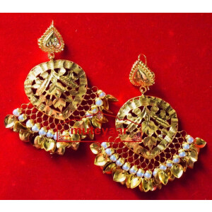 Hand Made 24 ct. Gold Plated Traditional Punjabi Jewellery Earrings Jhumka J0372
