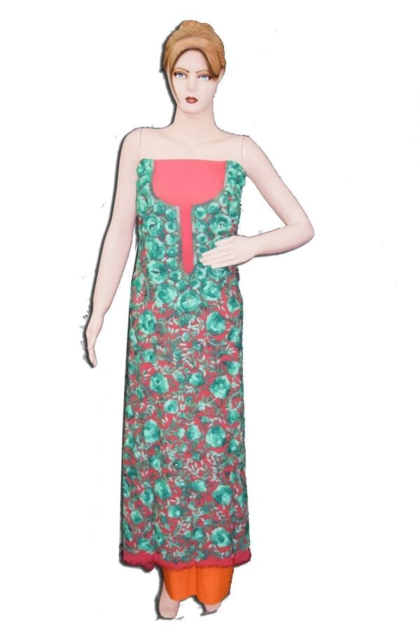 GEORGETTE LONG Kurti Hand Embroidered Party Wear Unstitched Fabric Piece K0379