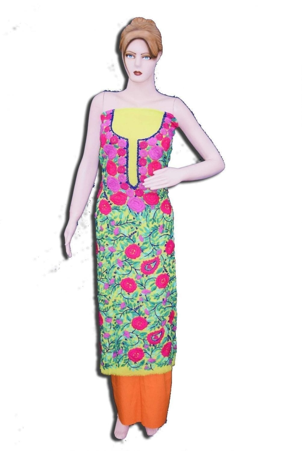 GEORGETTE LONG Kurti Hand Embroidered Party Wear Unstitched Fabric Piece K0381 1