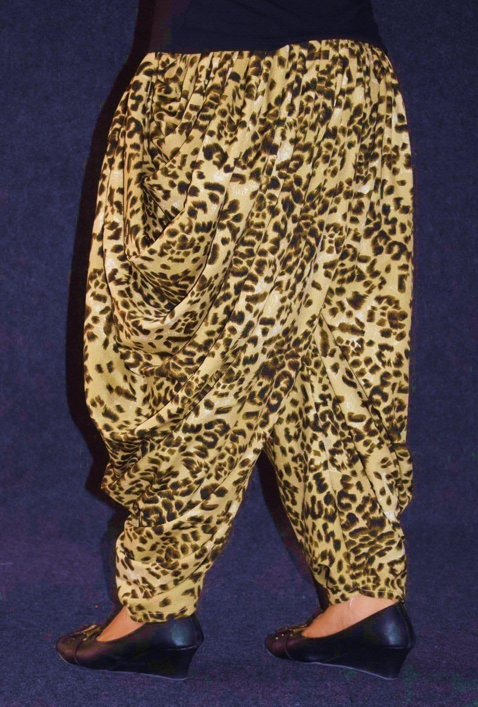 Cheetah Print Crepe Dhoti Salwar / Shalwar custom made DPS03 2