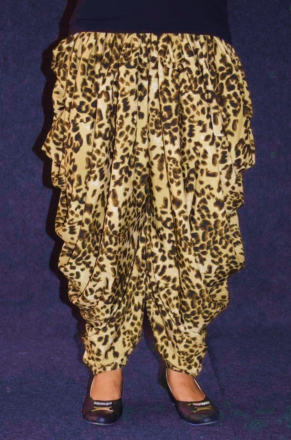 Cheetah Print Crepe Dhoti Salwar / Shalwar custom made DPS03 3