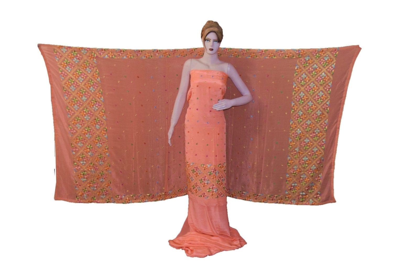 Peach PURE CREPE Hand  PHULKARI Salwar kameez suit CHINON DUPATTA F0707 1