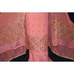 Peach PURE CREPE Hand  PHULKARI Salwar kameez suit CHINON DUPATTA F0707