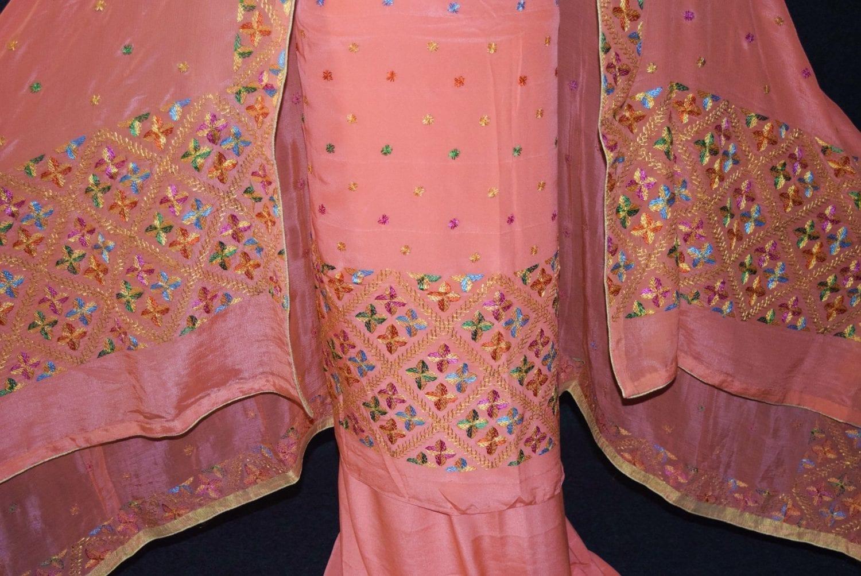 Peach PURE CREPE Hand  PHULKARI Salwar kameez suit CHINON DUPATTA F0707 3