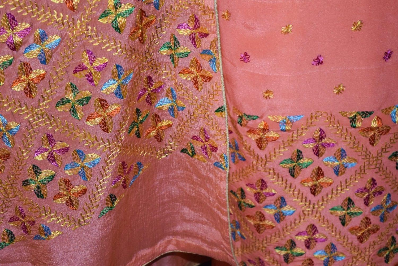 Peach PURE CREPE Hand  PHULKARI Salwar kameez suit CHINON DUPATTA F0707 4
