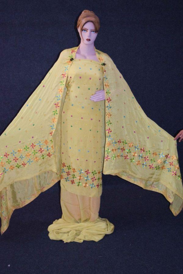 Fawn PURE CREPE Hand  PHULKARI Salwar kameez suit CHINON DUPATTA F0708