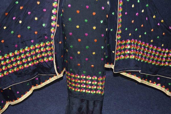 Black PURE CREPE Hand  PHULKARI Salwar kameez suit CHINON DUPATTA F0709