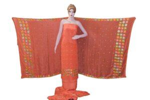 Dark Peach PURE CREPE Hand  PHULKARI Salwar Kameez Suit CHINON DUPATTA F0710