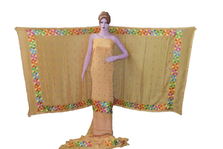 Golden PURE CREPE Hand PHULKARI Salwar Kameez Suit CHINON DUPATTA F0711 1