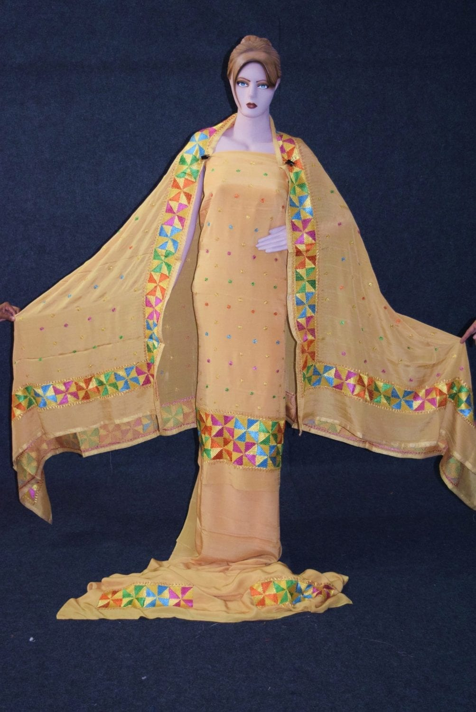 Golden PURE CREPE Hand  PHULKARI Salwar Kameez Suit CHINON DUPATTA F0711 2