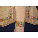 Golden PURE CREPE Hand  PHULKARI Salwar Kameez Suit CHINON DUPATTA F0711