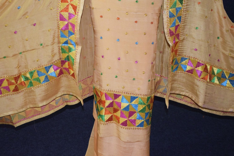 Golden PURE CREPE Hand  PHULKARI Salwar Kameez Suit CHINON DUPATTA F0711 3