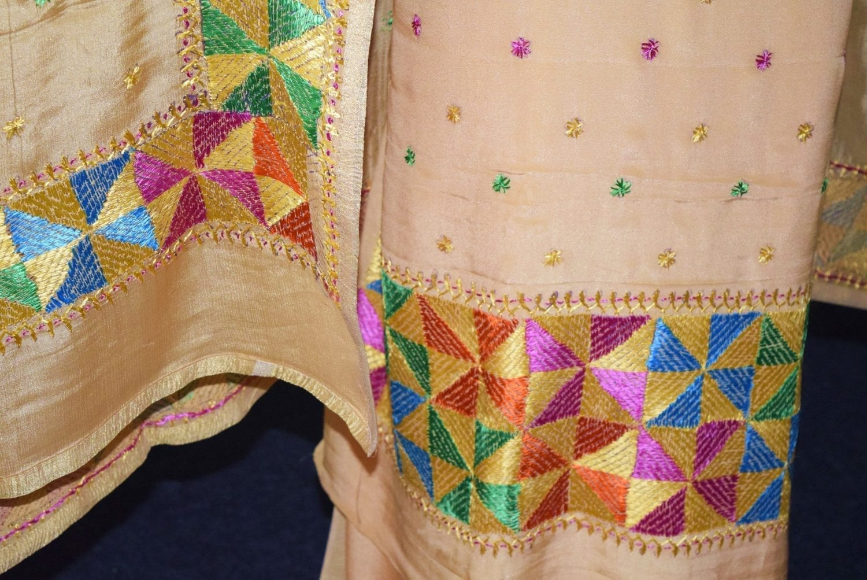 Golden PURE CREPE Hand PHULKARI Salwar Kameez Suit CHINON DUPATTA F0711 4
