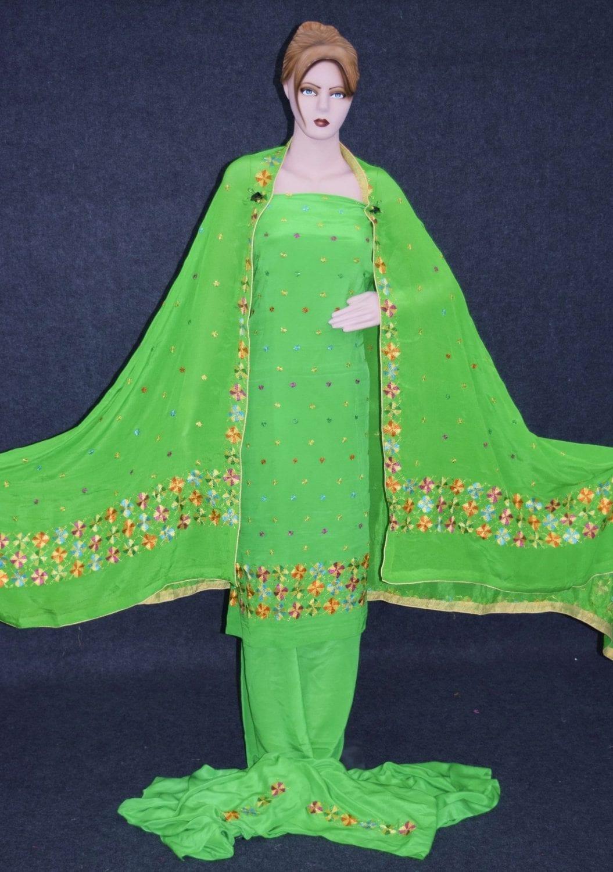 Parrot PURE CREPE Hand  PHULKARI Salwar Kameez Suit CHINON DUPATTA F0715 2