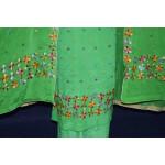 Parrot PURE CREPE Hand  PHULKARI Salwar Kameez Suit CHINON DUPATTA F0715