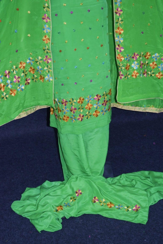 Parrot PURE CREPE Hand  PHULKARI Salwar Kameez Suit CHINON DUPATTA F0715 4