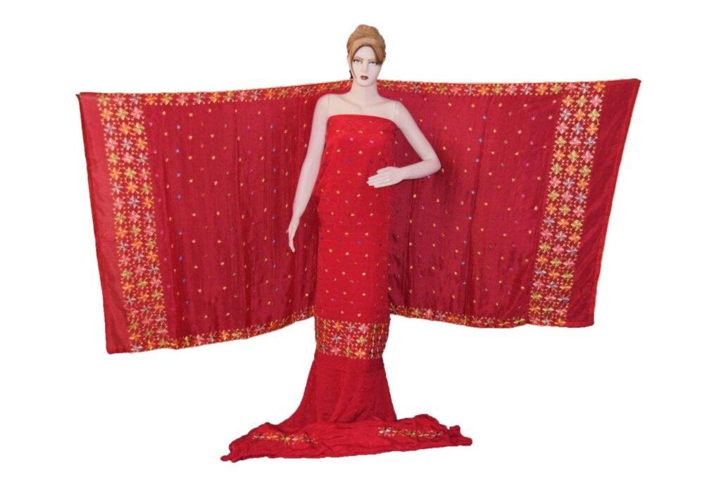 Bridal Red PURE CREPE Hand  PHULKARI Salwar Kameez Suit CHINON DUPATTA F0716