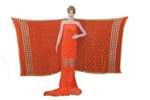 Bridal Orange PURE CREPE Hand  PHULKARI Salwar Kameez Suit CHINON DUPATTA F0718