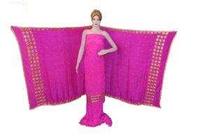 Hot Pink PURE CREPE Hand  PHULKARI Salwar Kameez Suit CHINON DUPATTA F0721