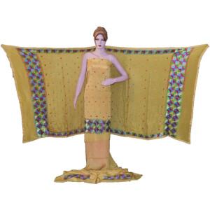 Fawn SEMI CREPE Hand  PHULKARI Salwar Kameez Suit CHINON DUPATTA F0723