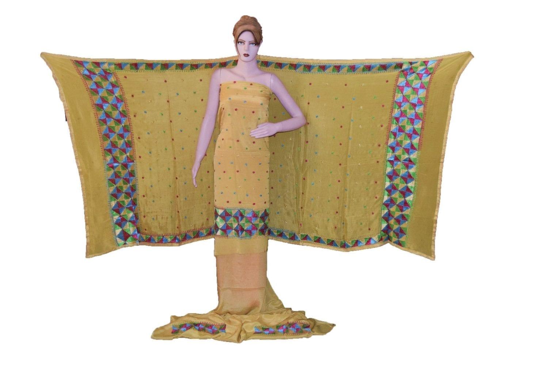 Fawn SEMI CREPE Hand  PHULKARI Salwar Kameez Suit CHINON DUPATTA F0723 1