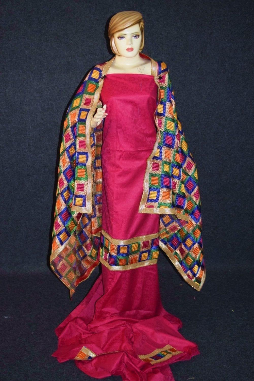 M/C Phulkari Salwar Kameez Cotton Suit with Bagh Dupatta F0728 4