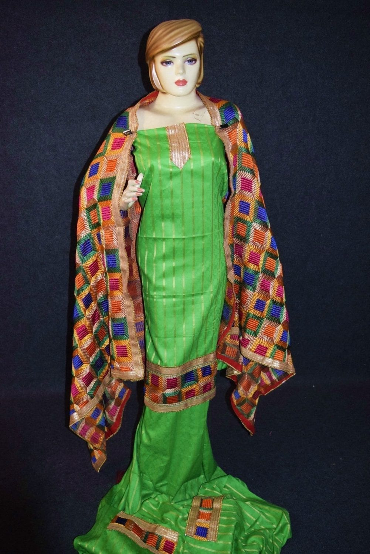 Parrot M/C Phulkari Salwar Kameez Cotton Suit with Bagh Dupatta F0729 2