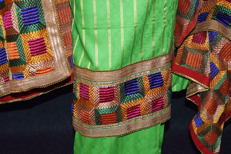 Parrot M/C Phulkari Salwar Kameez Cotton Suit with Bagh Dupatta F0729 3