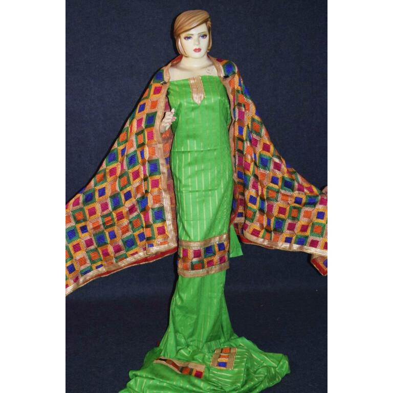 Parrot M/C Phulkari Salwar Kameez Cotton Suit with Bagh Dupatta F0729