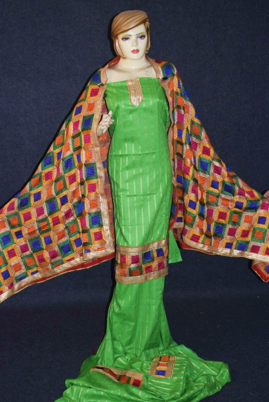 Parrot M/C Phulkari Salwar Kameez Cotton Suit with Bagh Dupatta F0729 4