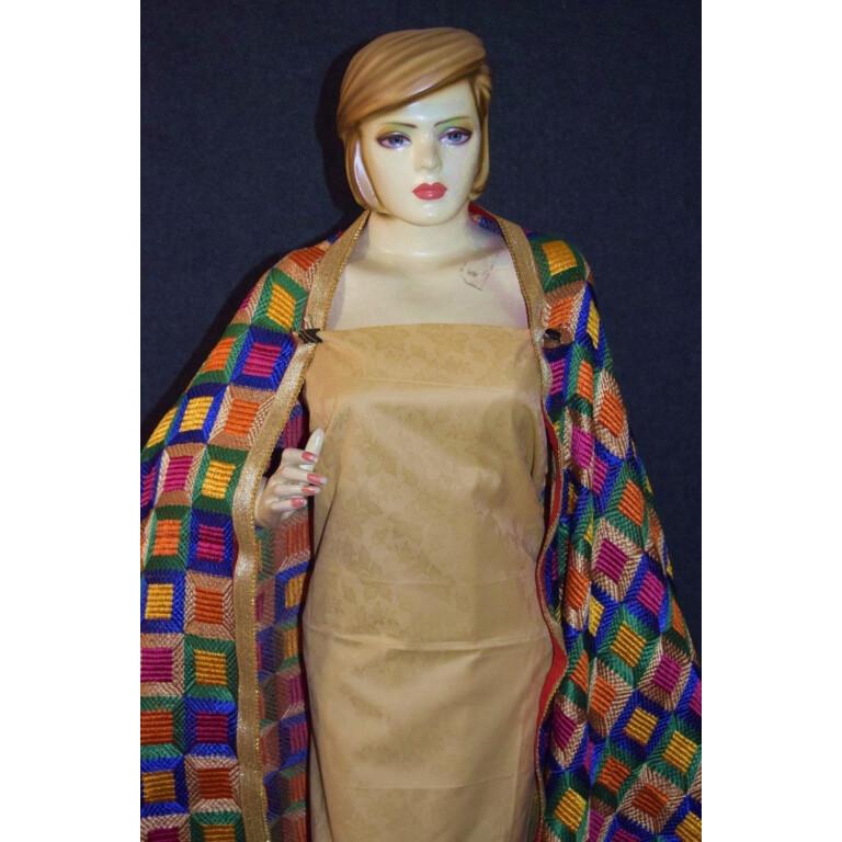 Golden M/C Phulkari Salwar Kameez Cotton Suit with Bagh Dupatta F0731