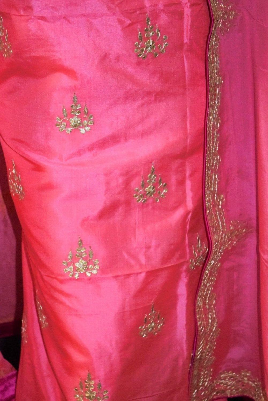 Pink PURE SILK Gota Patti work Salwar Kameez Suit CHINON DUPATTA H0193 4
