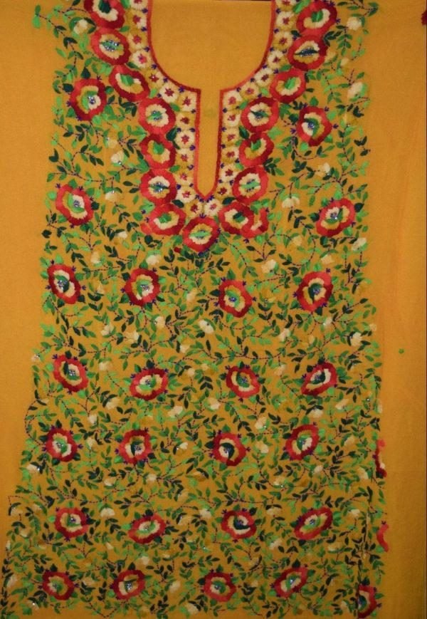 GEORGETTE LONG Kurti Hand Embroidered Party Wear Unstitched Fabric Piece K0385