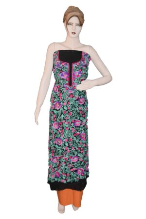 Black GEORGETTE LONG Kurti Hand Embroidered Party Wear Unstitched Fabric K0387