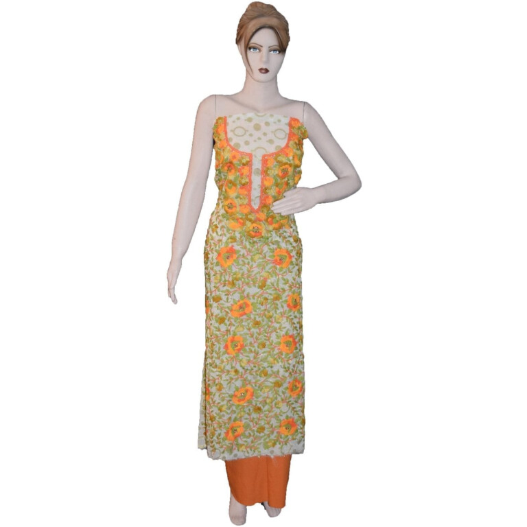 GEORGETTE LONG Kurti Hand Embroidered Party Wear Unstitched Fabric K0388
