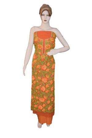 Orange GEORGETTE LONG Kurti Hand Embroidered Party Wear Unstitched Fabric K0389