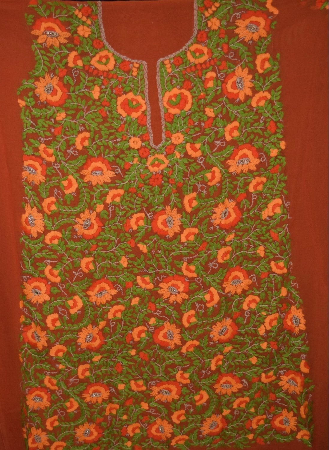 Orange GEORGETTE LONG Kurti Hand Embroidered Party Wear Unstitched Fabric K0389 2