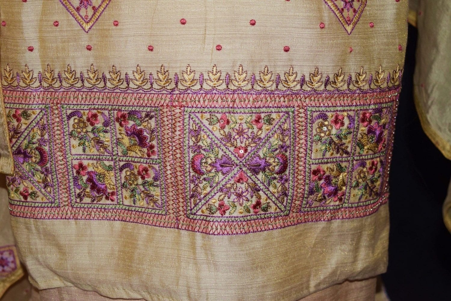 Fine Khadi Cotton Embroidered Salwar Suit with PURE CHINON Dupatta M0328 3