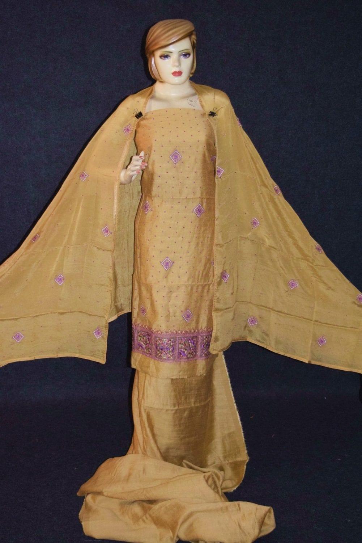 Golden Khadi Cotton Embroidered Punjabi Suit with PURE CHINON Dupatta M0331 1