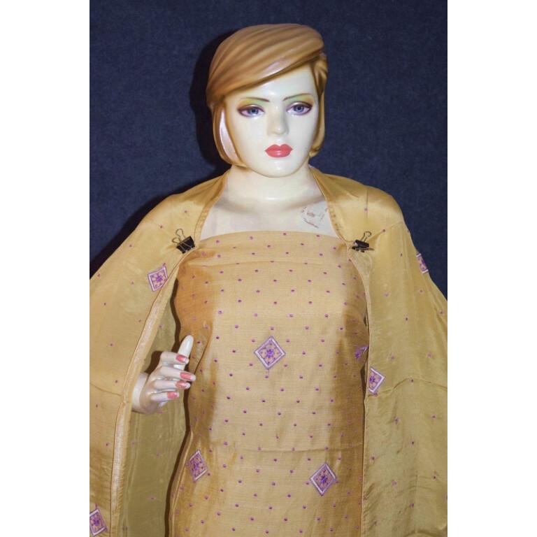 Golden Khadi Cotton Embroidered Punjabi Suit with PURE CHINON Dupatta M0331