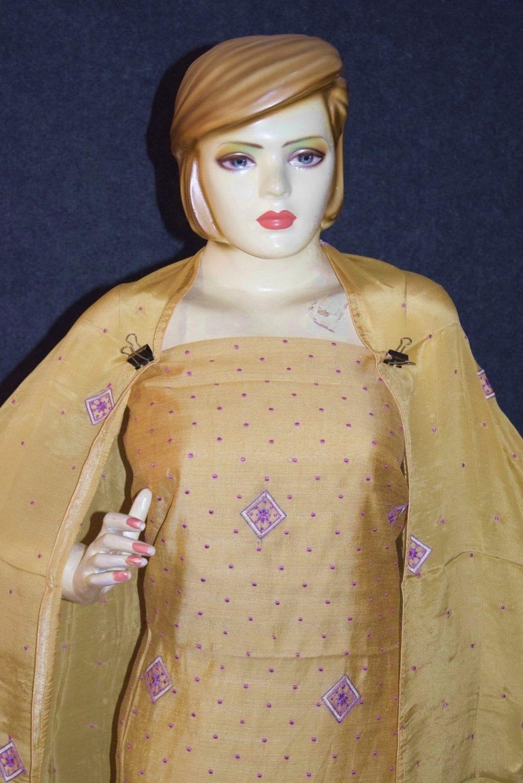 Golden Khadi Cotton Embroidered Punjabi Suit with PURE CHINON Dupatta M0331 2