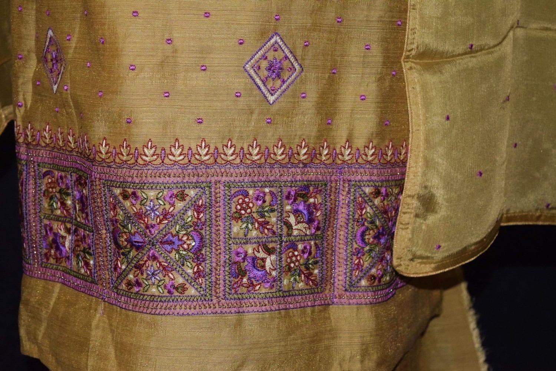 Golden Khadi Cotton Embroidered Punjabi Suit with PURE CHINON Dupatta M0331 3
