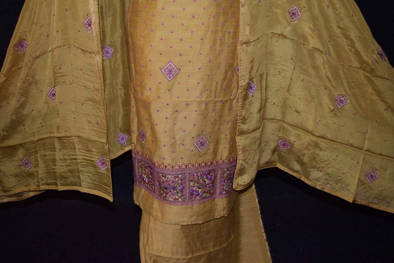 Golden Khadi Cotton Embroidered Punjabi Suit with PURE CHINON Dupatta M0331 4