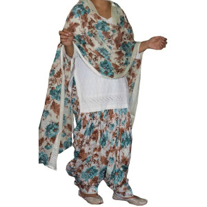 100% Pure Cotton Printed Patiala Salwar Dupatta with CHIKAN kurti complete suit PS028