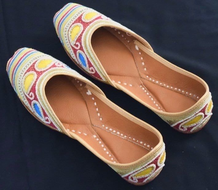 Dabka Work Embroidered hand made Punjabi Jutti Bridal Shoes PJ9791 1